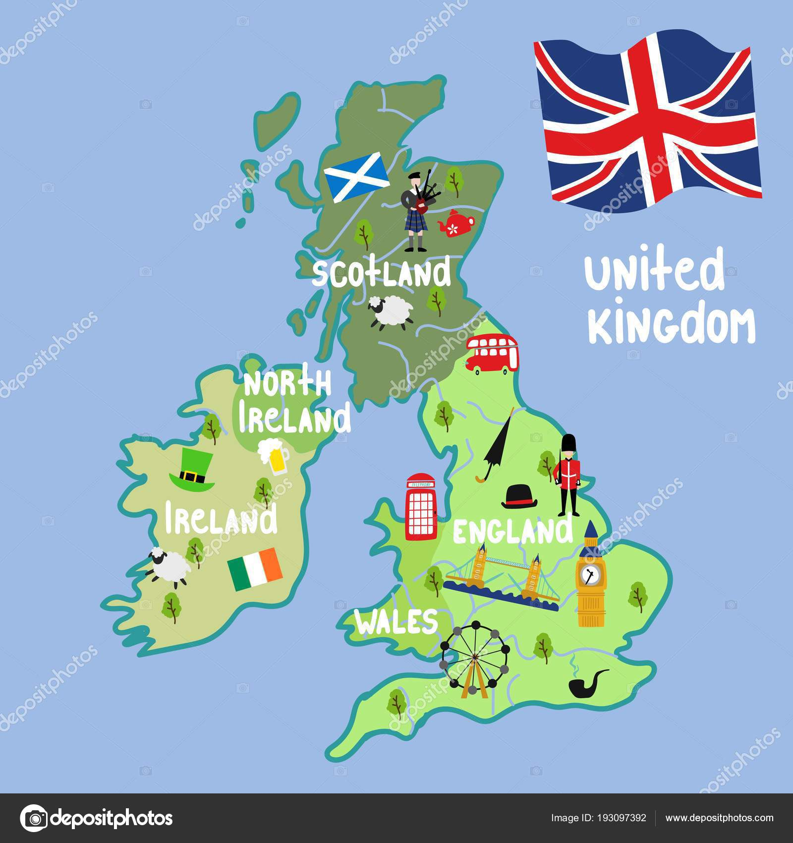 Vector Cartoon Verenigd Koninkrijk Kaart Nationale