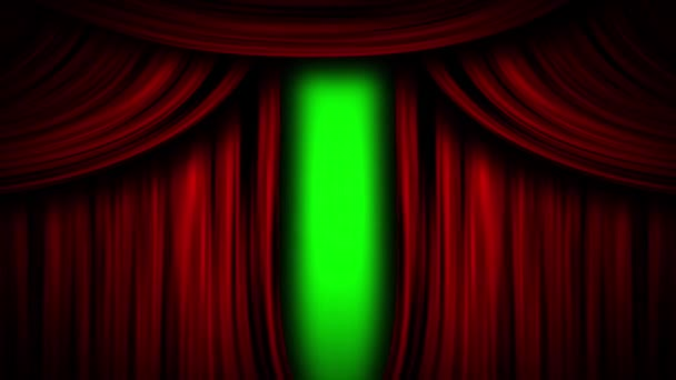 red curtain theater stage opera cinema open close green screen animation 3d