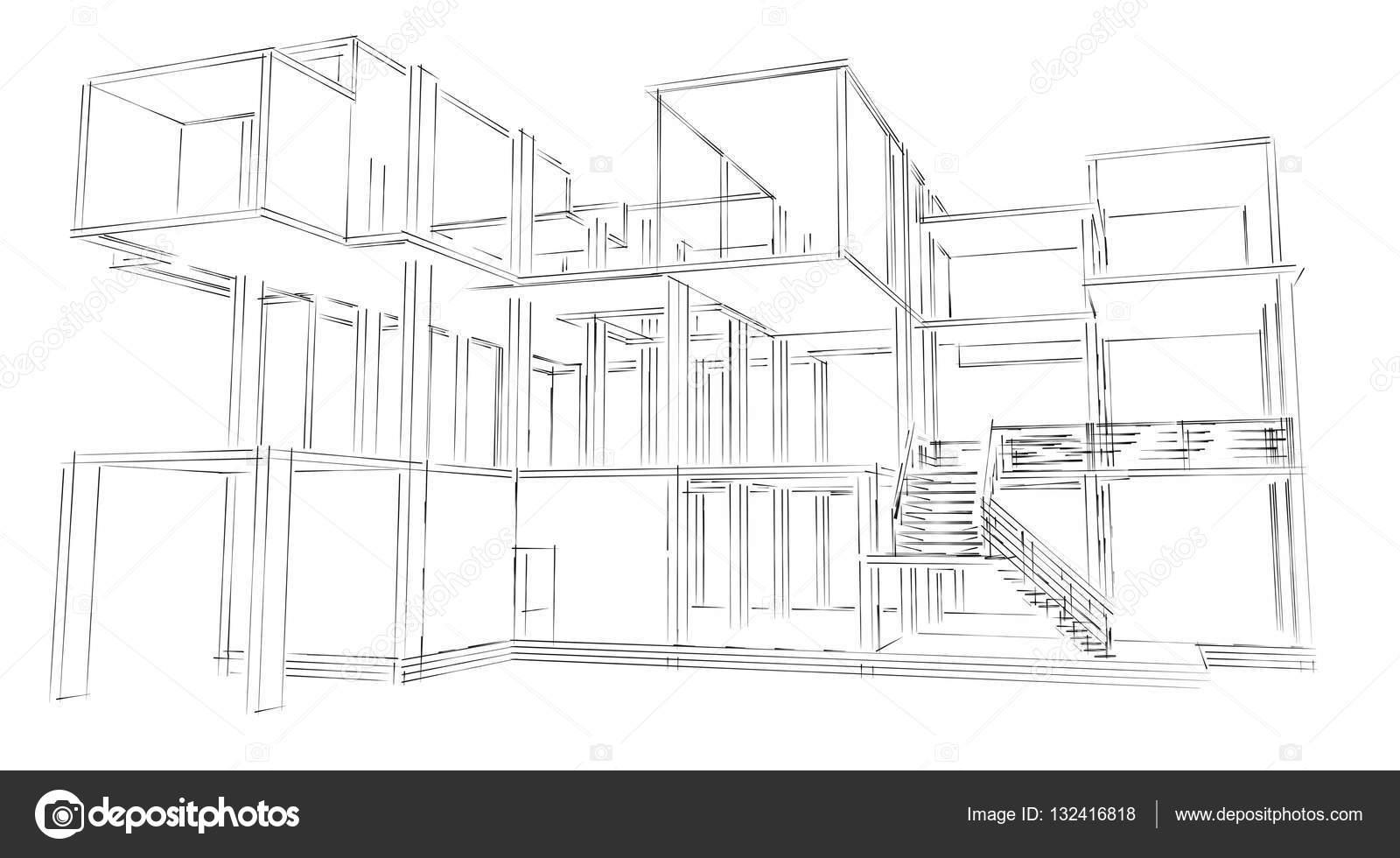 Croquis d'architecture du bâtiment — Photographie shawlin
