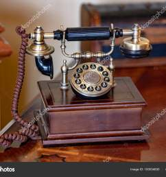 old antique wood telephone detail stock photo [ 1600 x 1167 Pixel ]