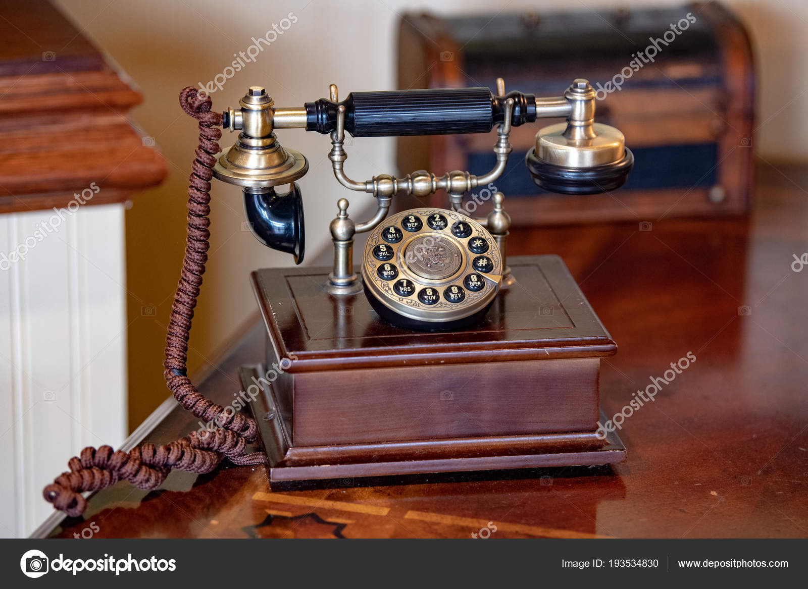 hight resolution of old antique wood telephone detail stock photo