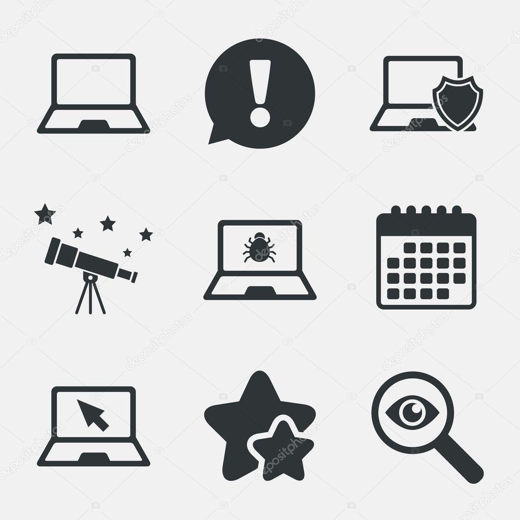 ícones de pc portátil Notebook. bug de software ou vírus