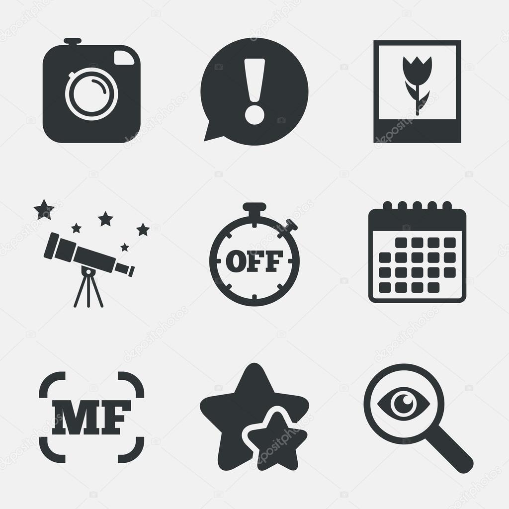 Photo camera icon. Manual focus and Macro signs. — Stock
