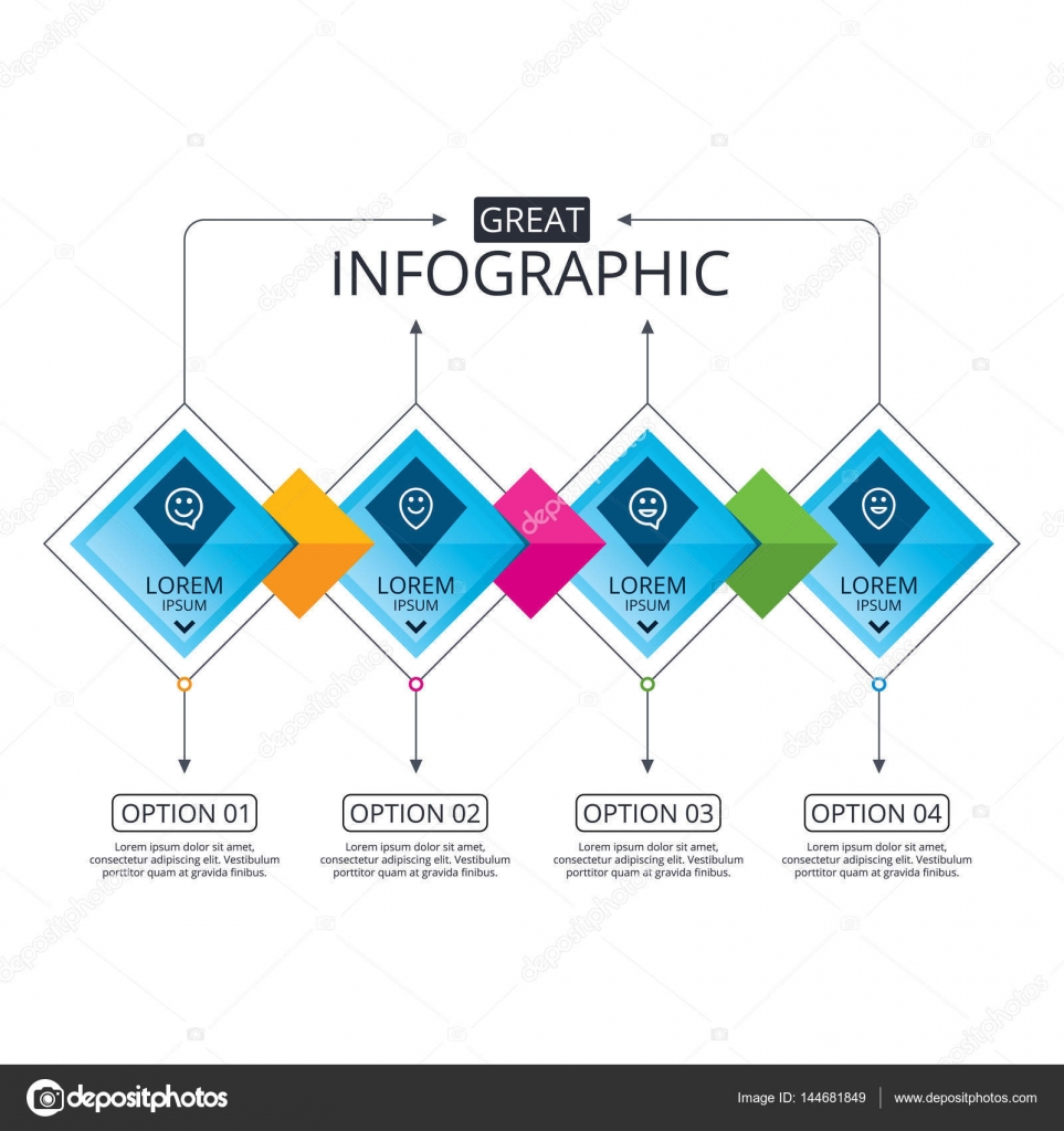 Infographic Flowchart Template. Business Diagram With Options. Happy Face  Speech Bubble Icons. Smile Sign. Map Pointer Symbols. Timeline Steps.