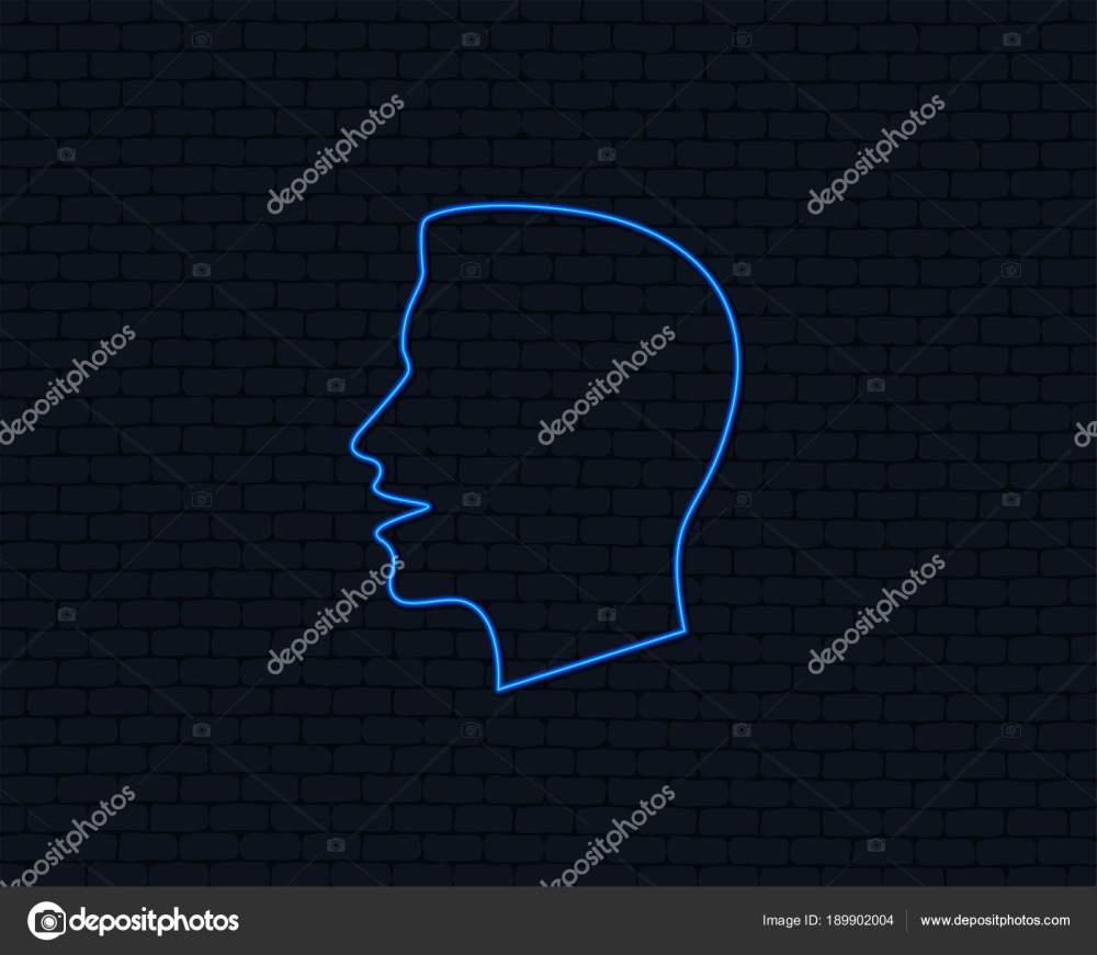 medium resolution of neon light talk speak icon loud noise symbol human talking stock vector