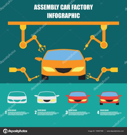 small resolution of assembly car infographic assembly line and car production plant process flat vector illustration stock illustration