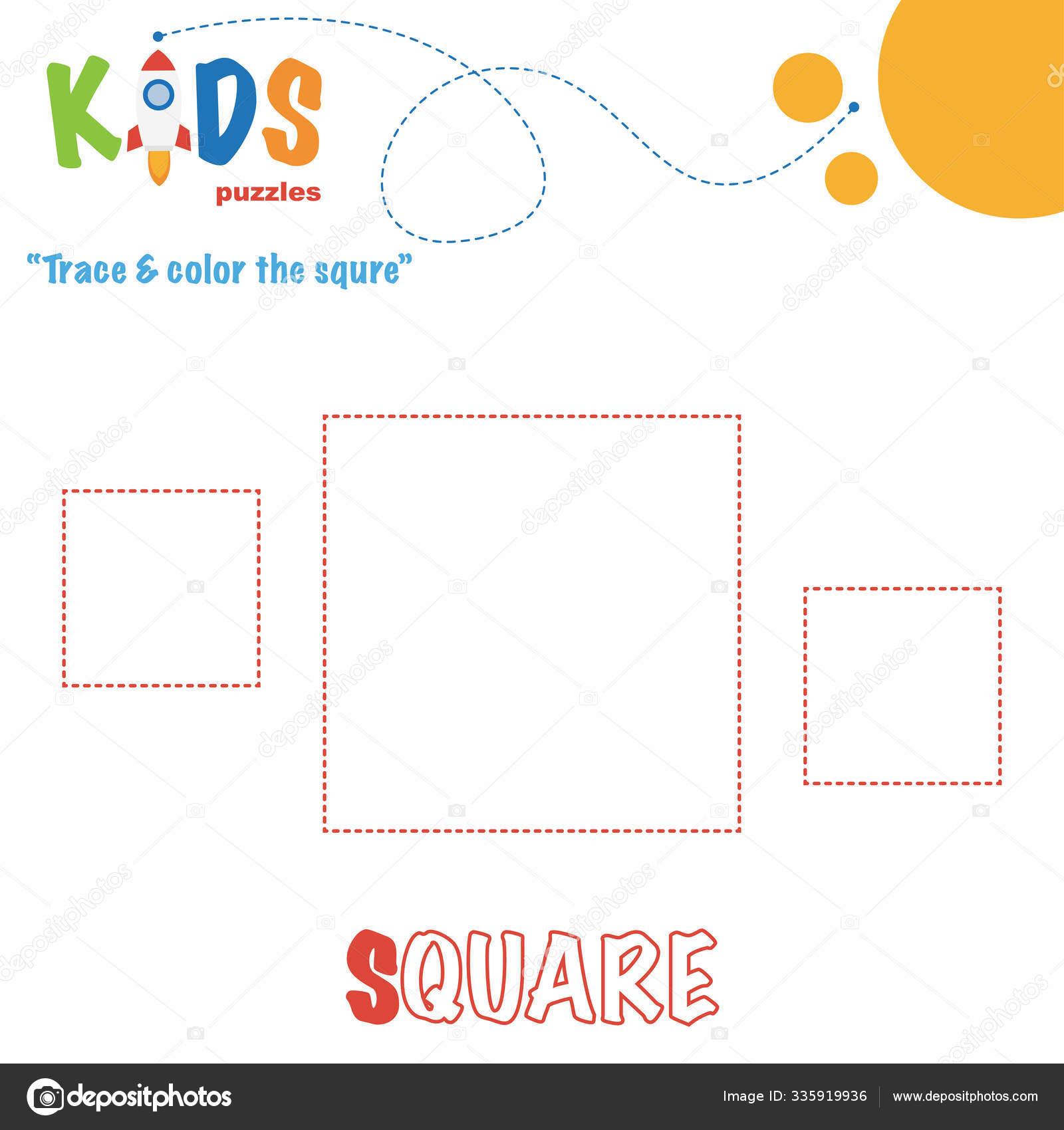 Trace Color Shape Preschool Worksheet Practice Printable