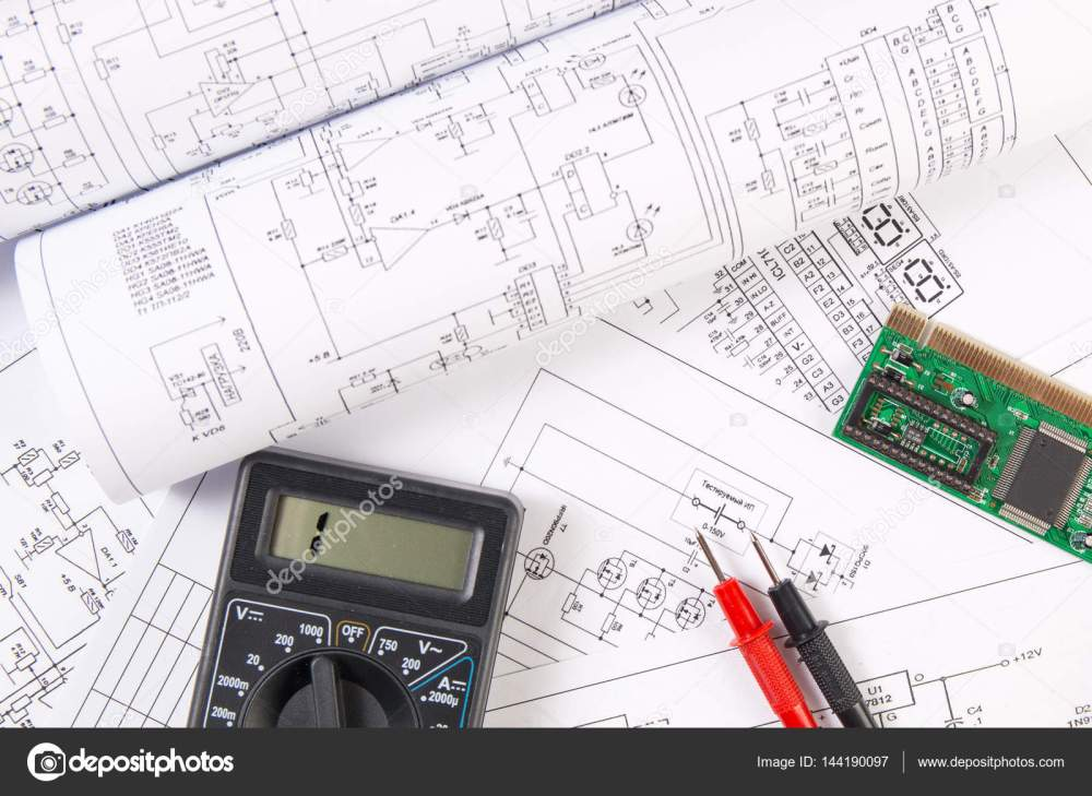 medium resolution of electrical engineering drawings electronic board and digital mu stock photo