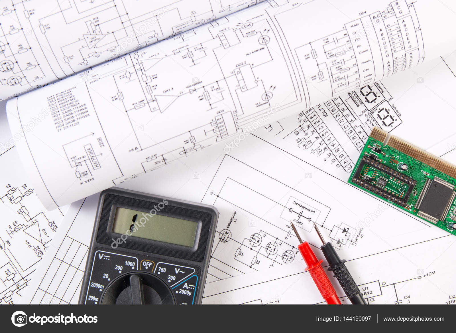 hight resolution of electrical engineering drawings electronic board and digital mu stock photo