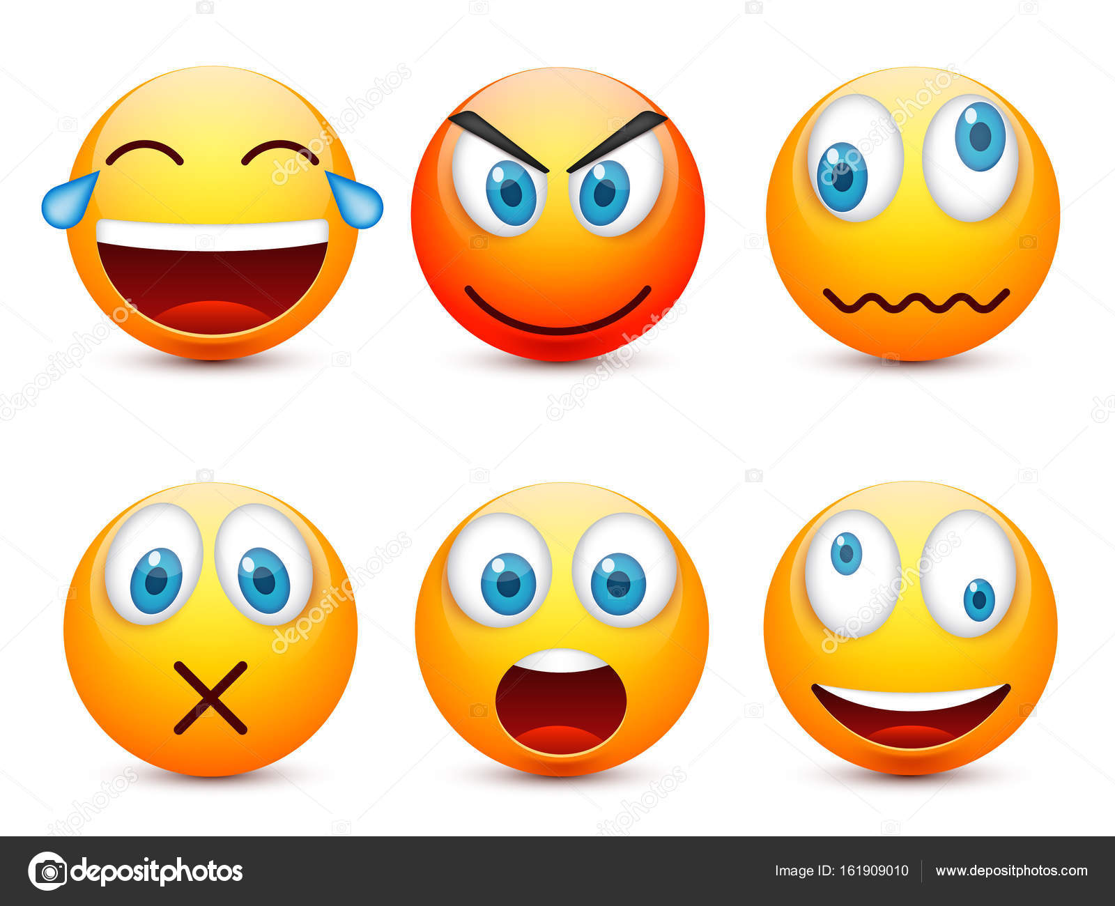Smiley With Blue Eyes Emoticon Set Yellow Face With