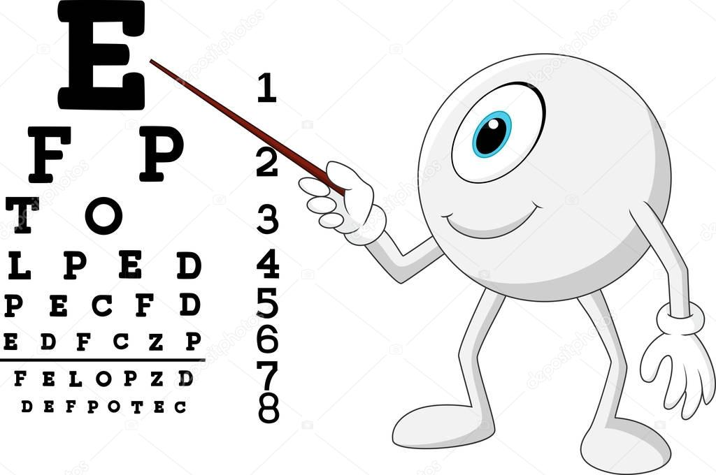 Opticien de boule oeil Cartoon pointant au tableau de
