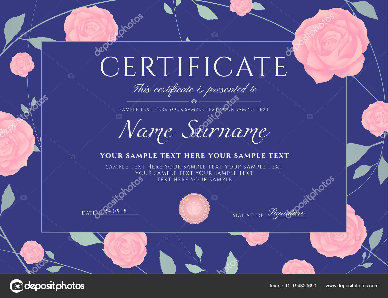Certificate Completion Template Flowers Blue Roses Green Floral Pattern  Frame — Stock Vector
