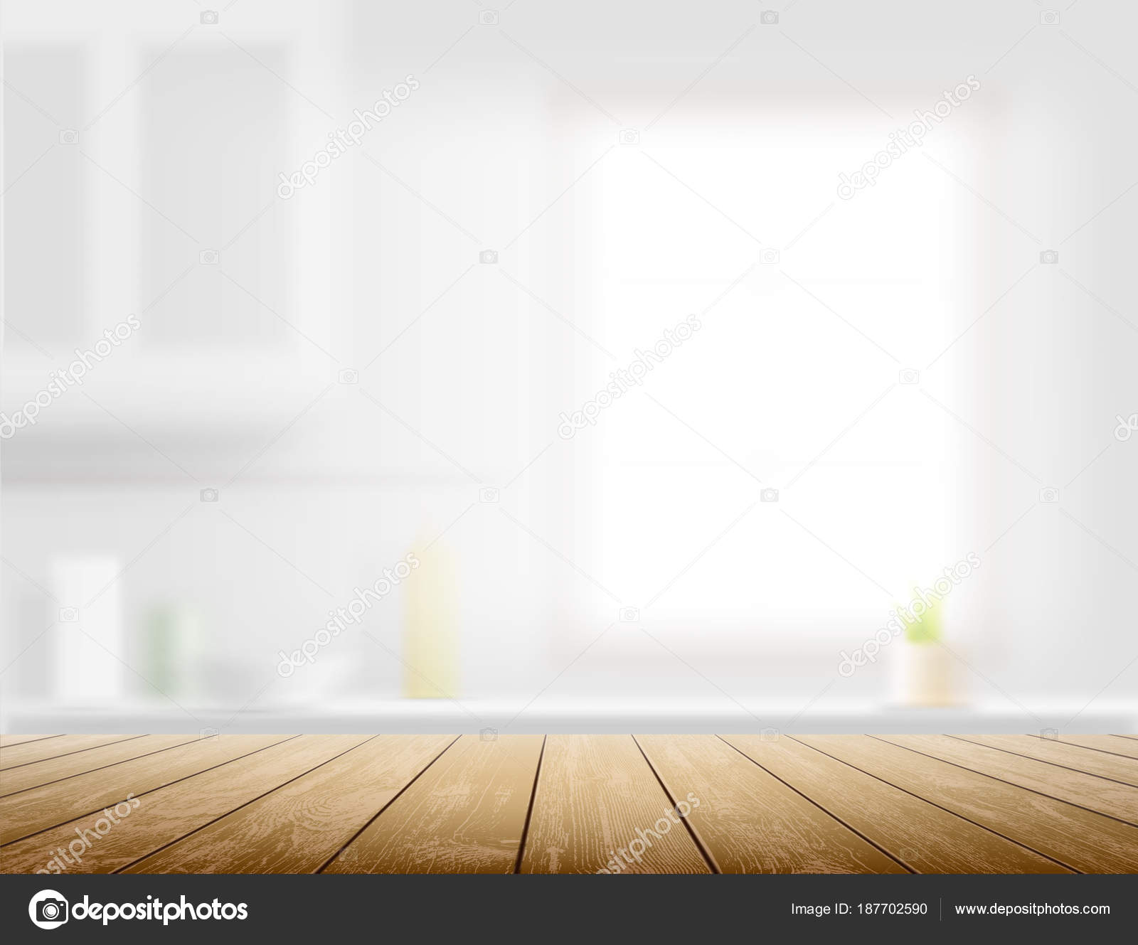 kitchen benches window treatments for 木桌上的弥散厨房长椅内部背景股票矢量图 图库矢量图像 c vantuz 187702590 图库矢量