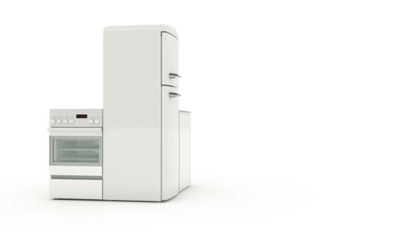 kitchen aid products wooden stools 家电产品 家用厨房工艺上白色孤立的一套 冰箱 煤气灶 微波炉和 煤气