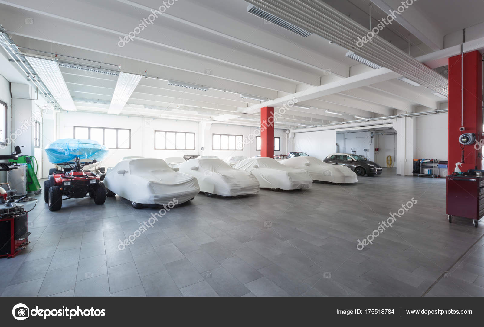 Modern Garage Interior Cars Exposition Stock Photo C Zveiger 175518784