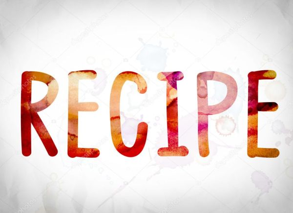 Recipe Concept Watercolor Word Art Stock Photo