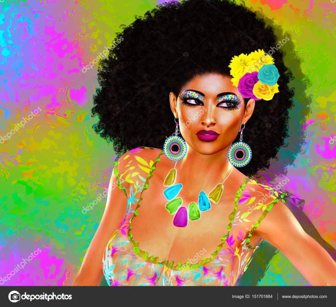 african american fashion beauty with afro hairstyle. — stock