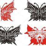 Ornate Black And Red Butterfly Wings Tattoo Art Abstract Patterned Butterfly Symbols With Artistic Line For Your Design Isolated On White Premium Vector In Adobe Illustrator Ai Ai Format