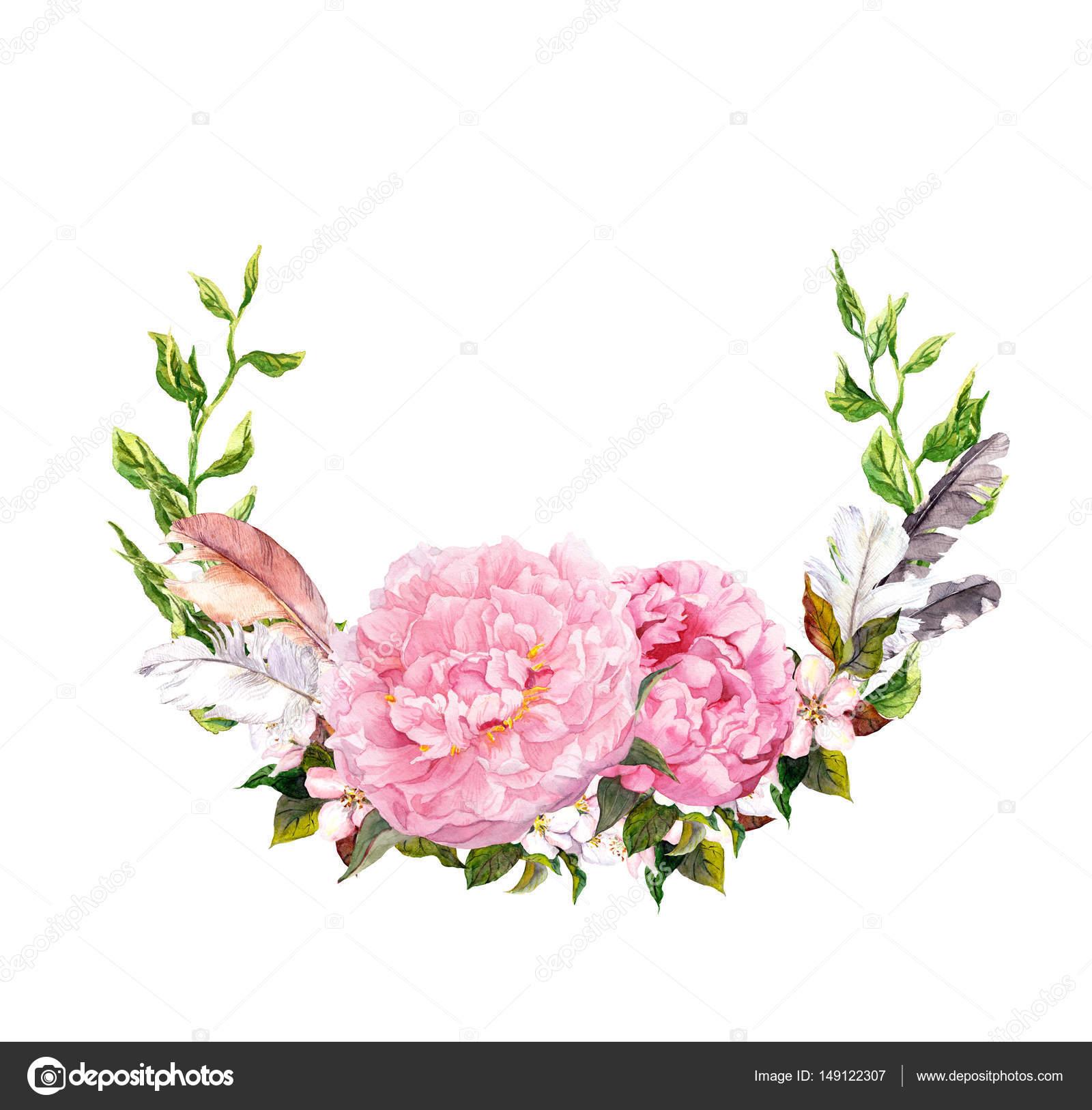 Blumenkranz mit rosa Pfingstrose Blumen Federn