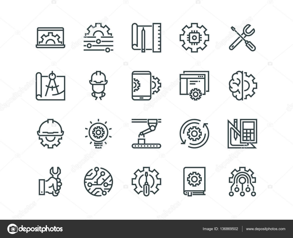 Engineering. Set of outline vector icons. Contains such as