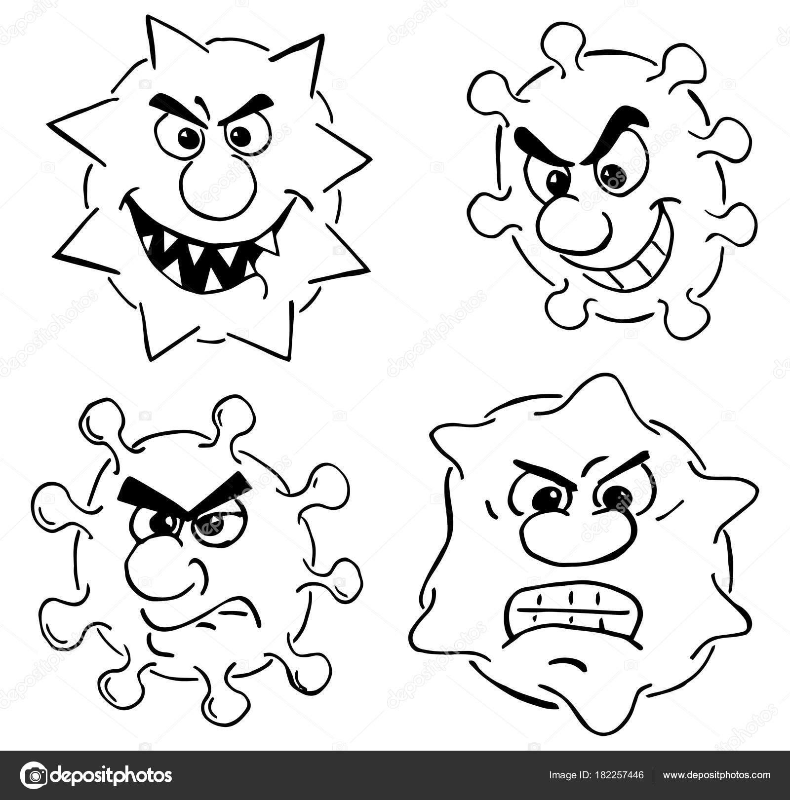 vírus selvagem dos desenhos animados — Vetores de Stock