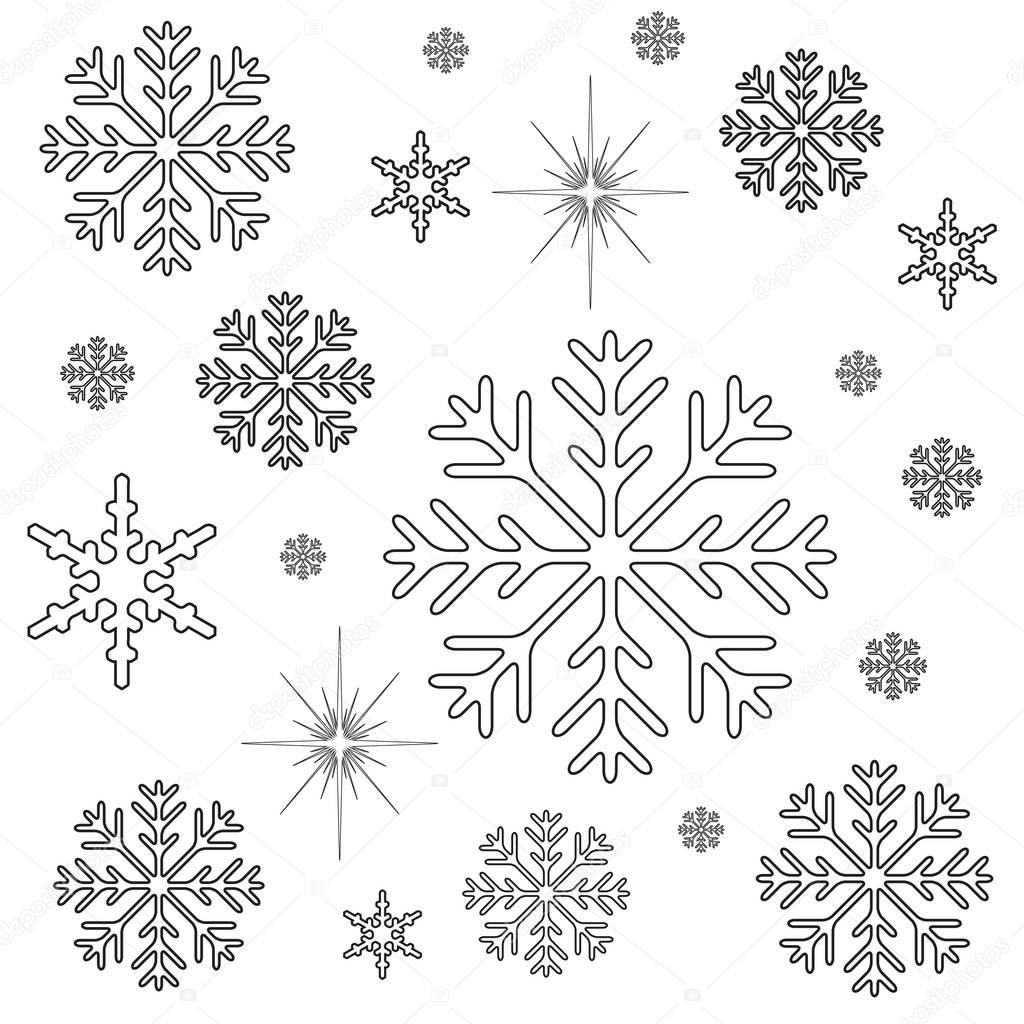 Snowflakes Christmas Coloring Page