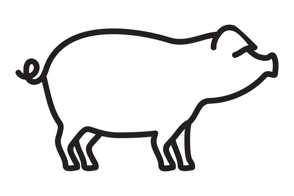 Vector illustration of the pig outline — Stock Vector