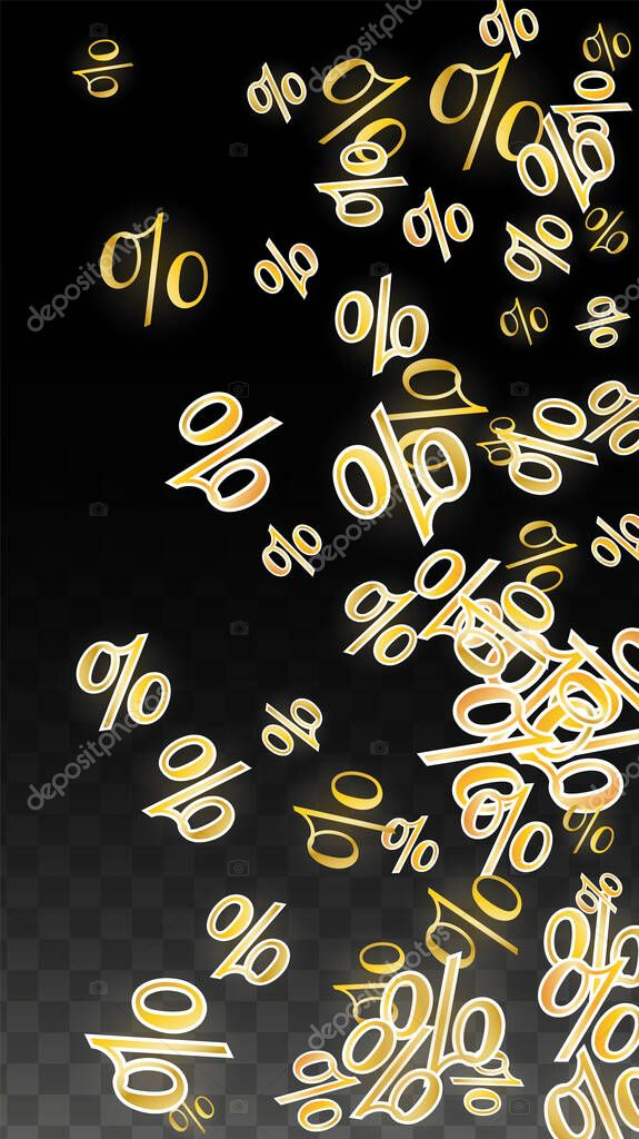 Gold Percentage : percentage, Luxury, Vector, Percentage, Confetti, Transparent., Percent, Background., Business,, Economics, Print., Discount, Illustration., Promotion, Poster., Black, Friday, Banner., Special, Offer, Template., Premium, Adobe, Illustrator