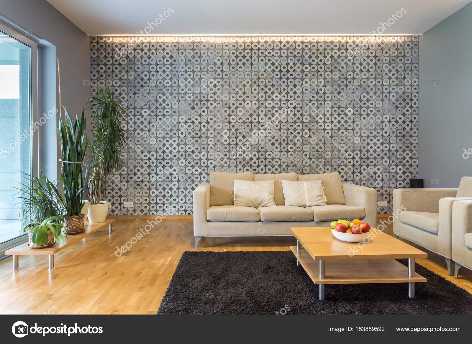 Woonkamer met moderne verlichting  Stockfoto