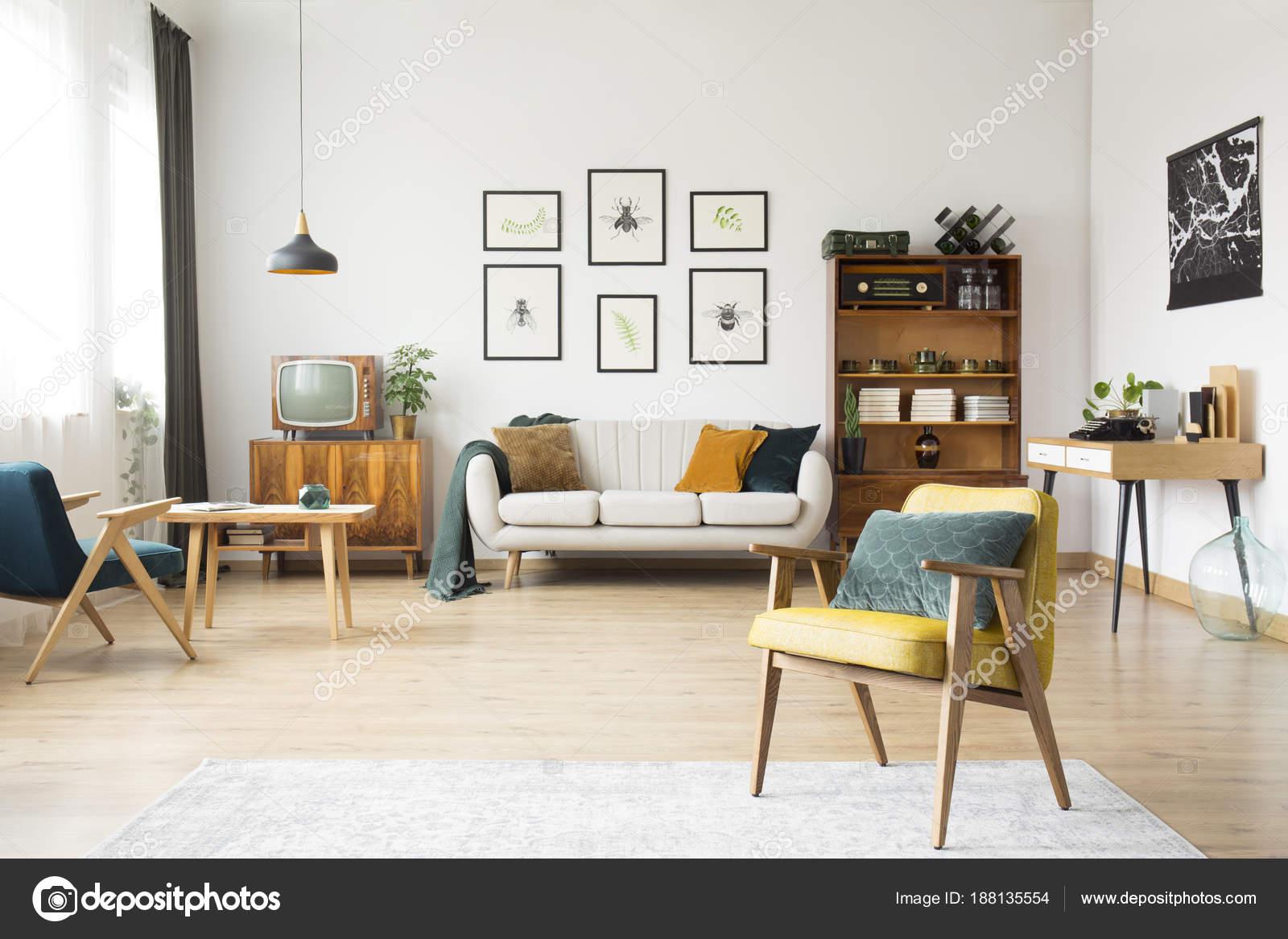 Retro woonkamer interieur  Stockfoto  photographeeeu