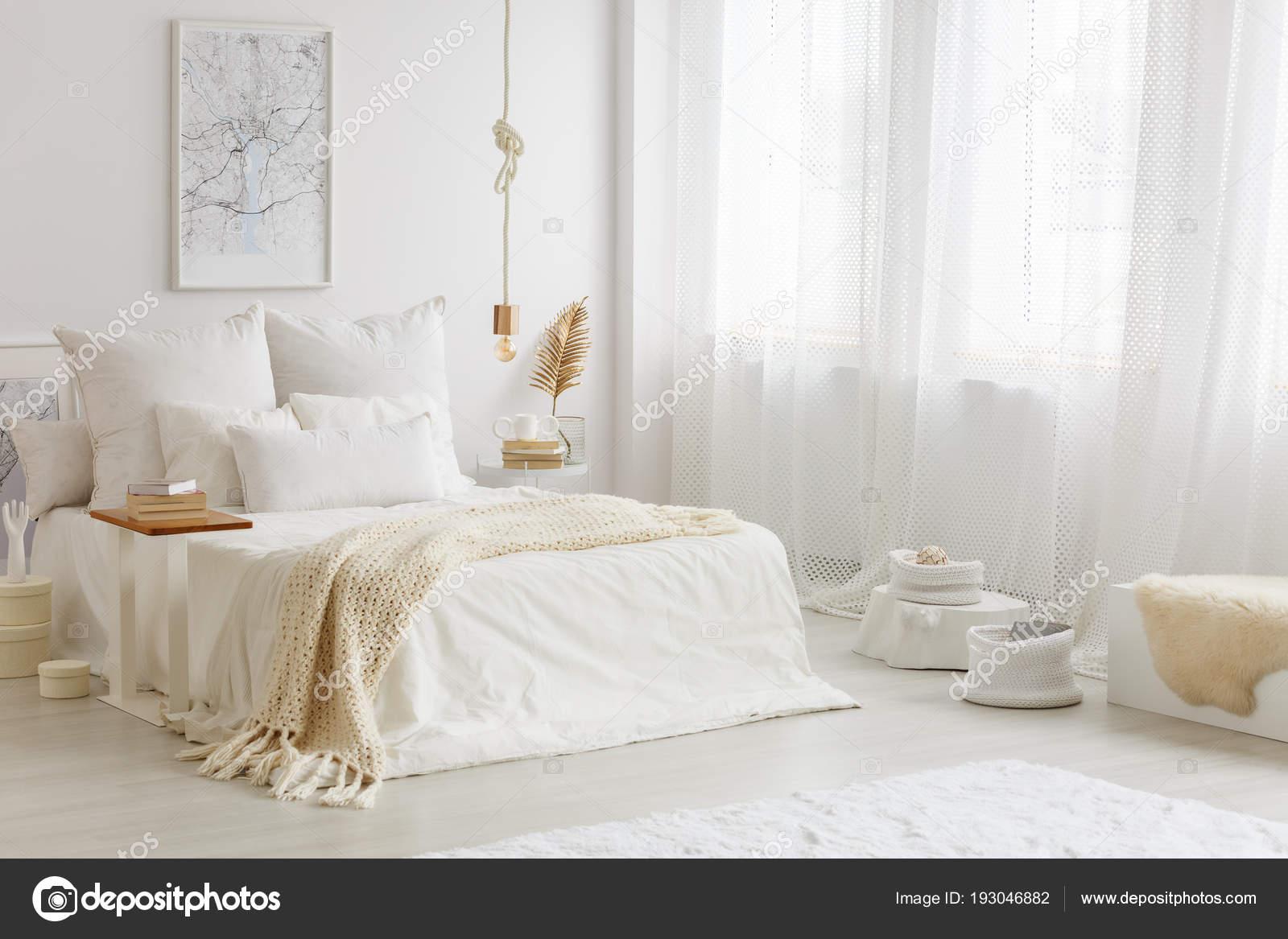 warm white gold bedroom interior beige blanket white sheets bed stock photo c photographee eu 193046882