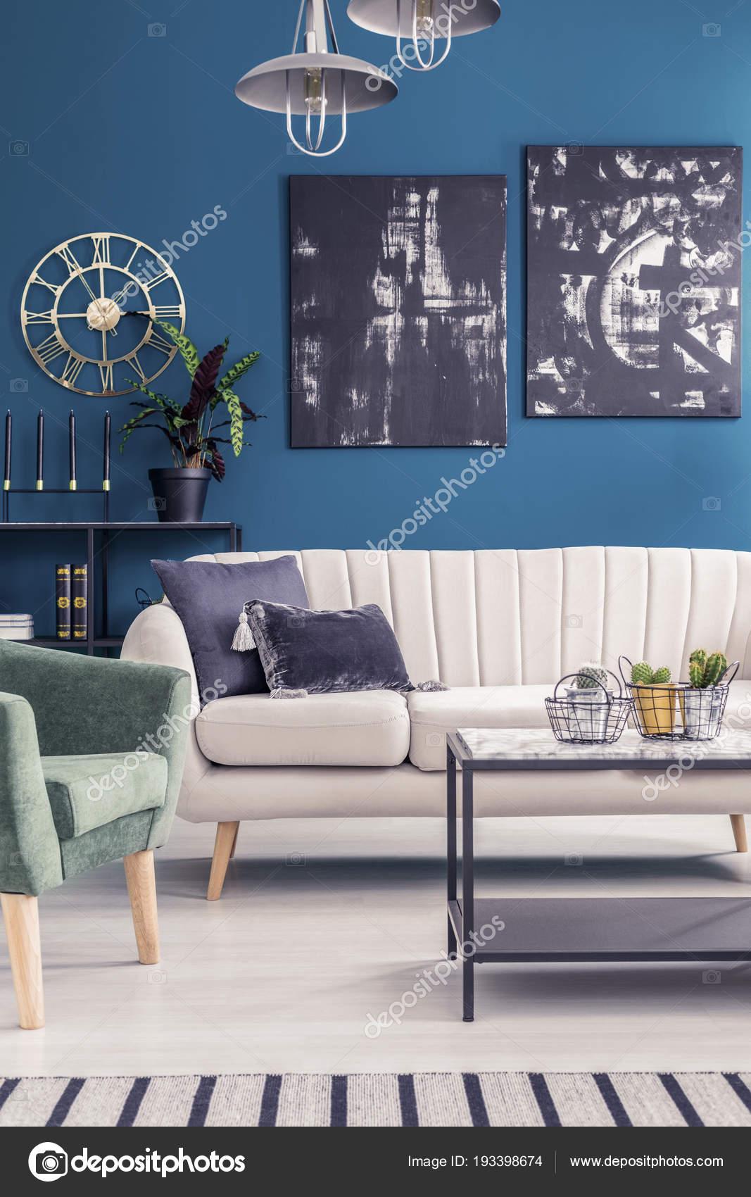 Pinturas Negro Azul Oro Reloj Redondo Pared Interior Sala