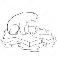 Dibujos para colorear. Madre oso polar con su lindo beb ...