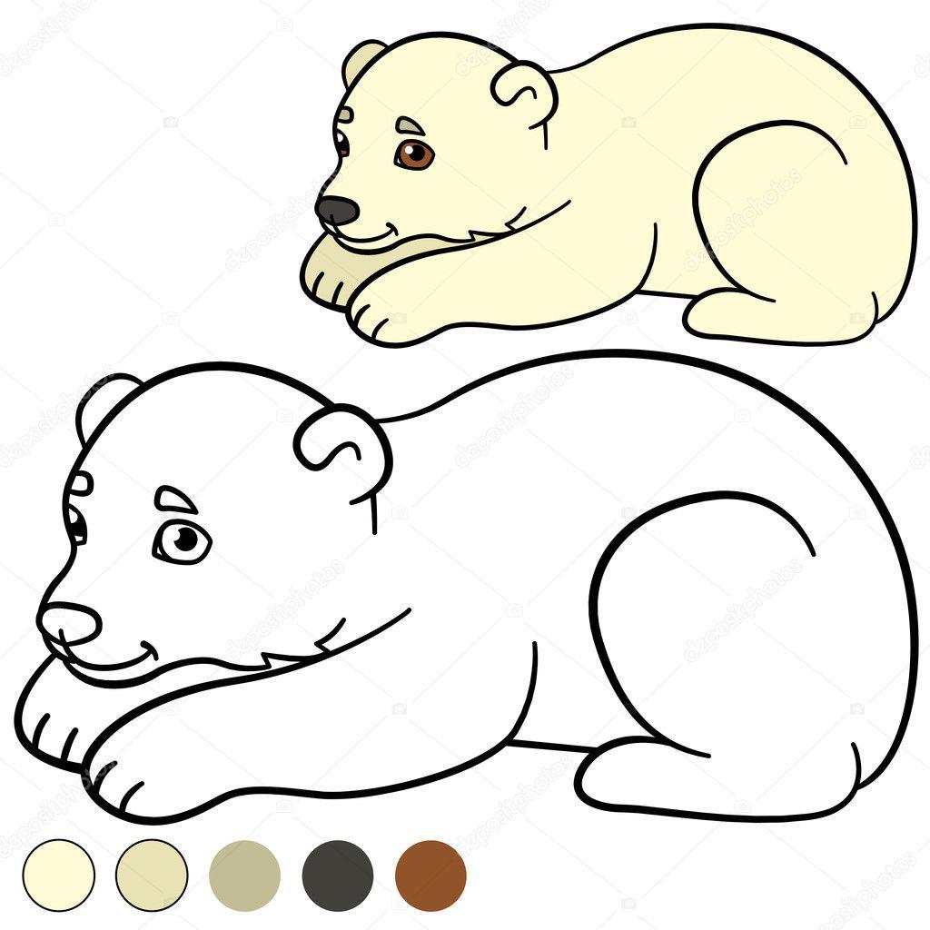 Malvorlagen kleines süßes Eisbärbaby — Stockvektor © ya