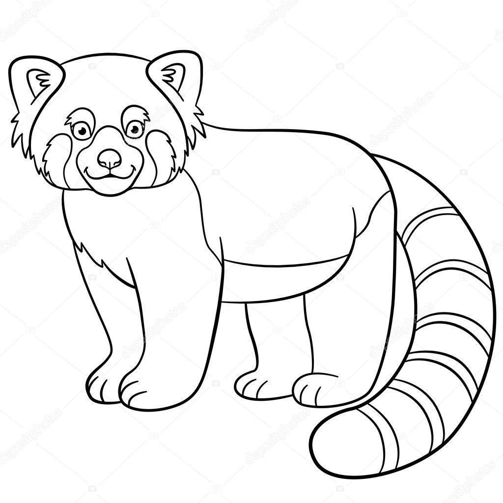 Disegni da colorare. Piccolo panda rosso sveglio sorrisi