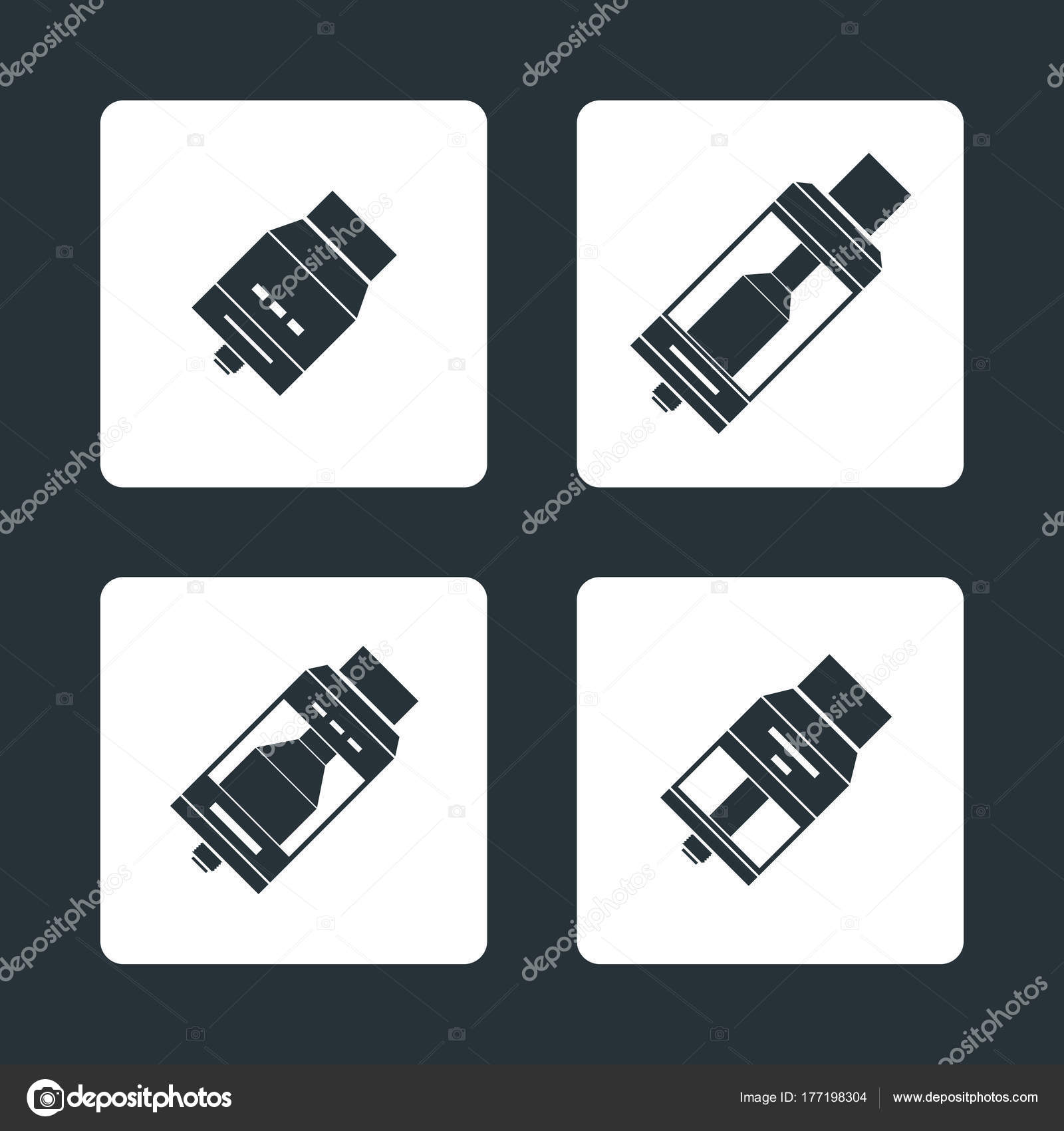 hight resolution of vector vaporizer atomizers types icon stock vector