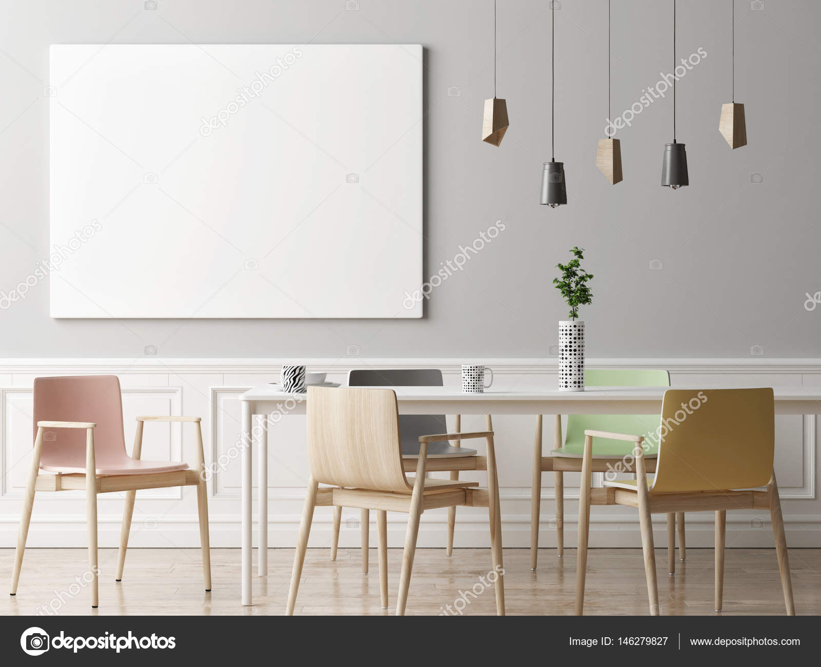 Mock up poster in dining room hipster background  Stock