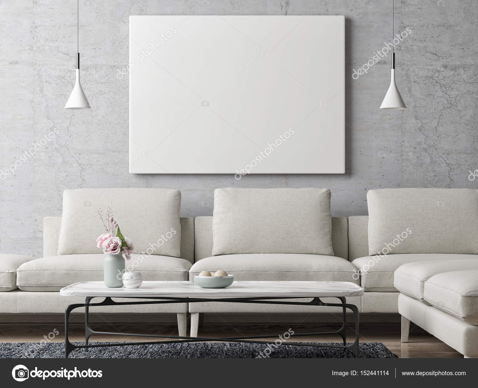 White poster on concrete wall living room background