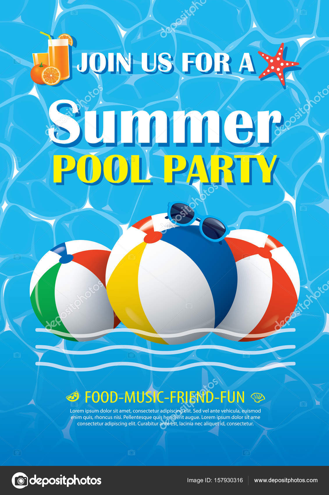 Pool Party Invitation Poster With Blue Water. Vector Summer — Stock Vector