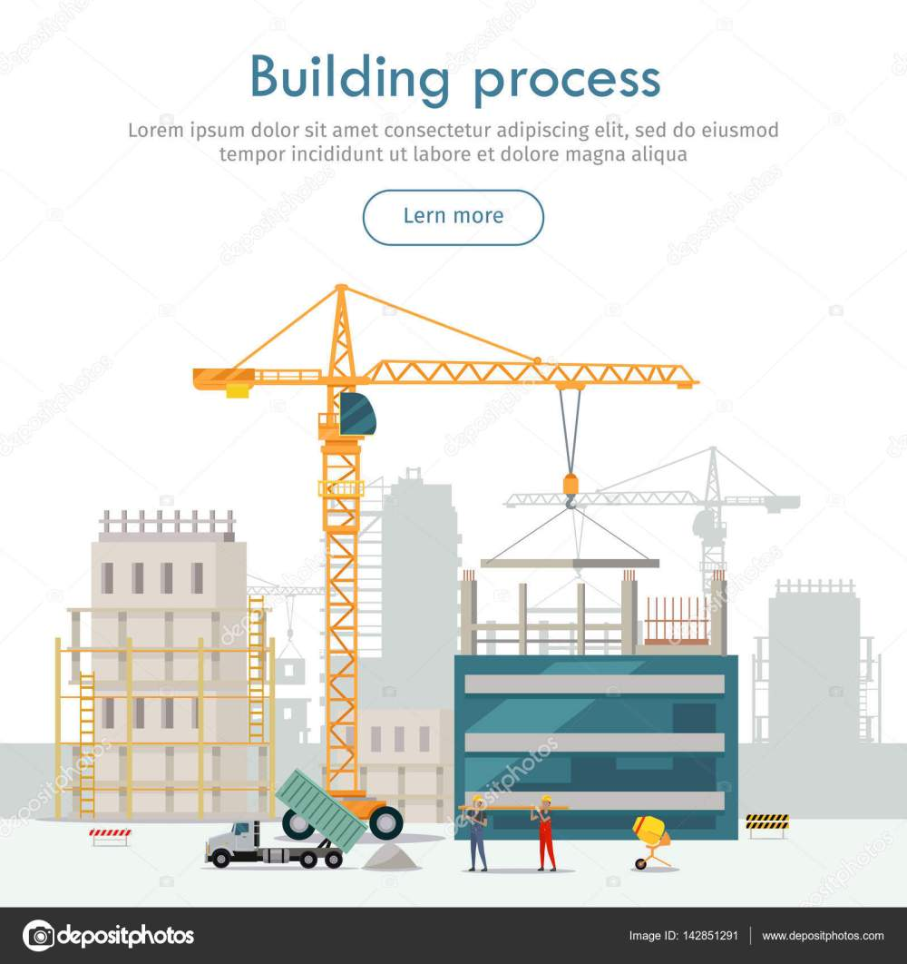 medium resolution of web construction site cartoon design two high industrial cranes lifting heavy elements truck near two builders holding long girder truck unload sand