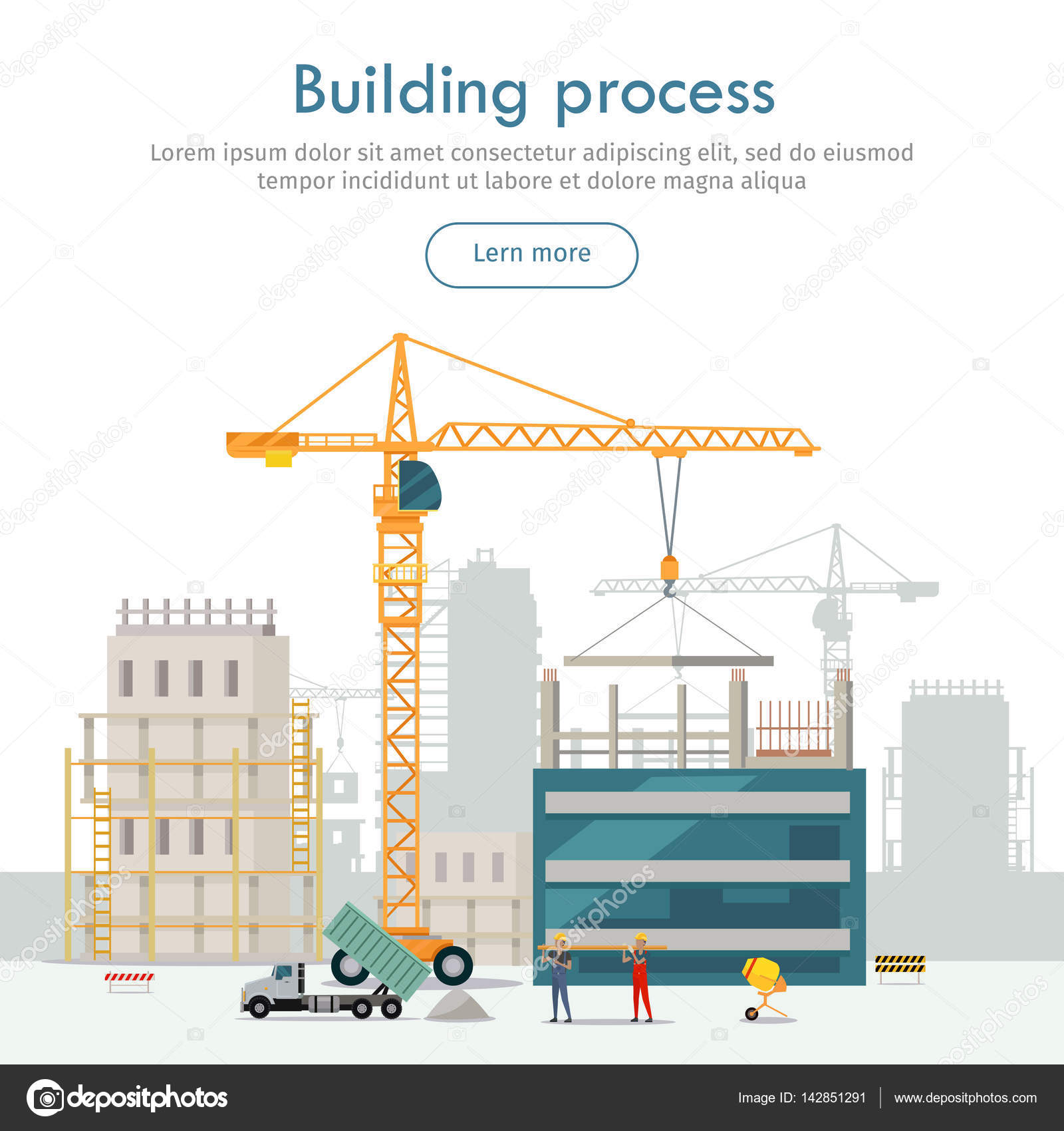 hight resolution of web construction site cartoon design two high industrial cranes lifting heavy elements truck near two builders holding long girder truck unload sand