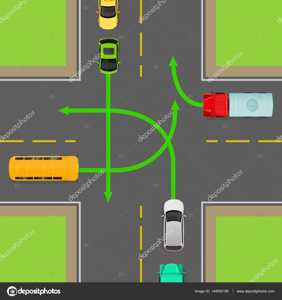 hight resolution of turn rules on four way intersection vector diagram stock vector