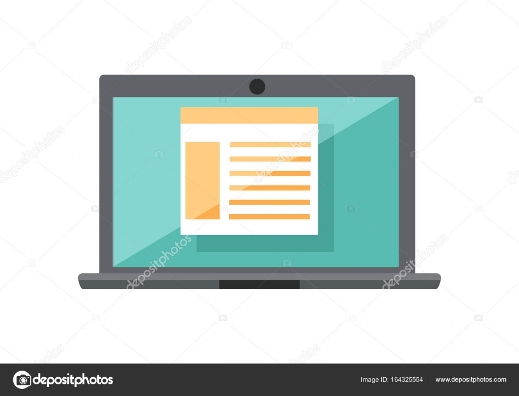 hight resolution of laptop with diagram on screen stock vector