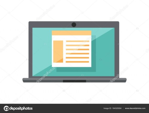 small resolution of laptop with diagram on screen stock vector