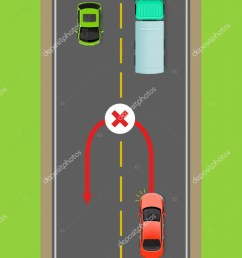 banned car u turn flat vector illustration road rule violation example on top view diagram traffic offences concept danger of car accident  [ 771 x 1024 Pixel ]