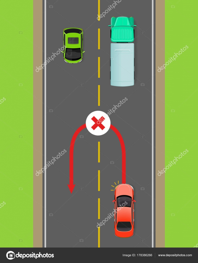 hight resolution of banned car u turn flat vector illustration road rule violation example on top view diagram traffic offences concept danger of car accident