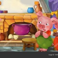 Pig Kitchen Stainless Steel Double Sink Undermount 在厨房里的猪卡通场景 图库照片 C Agaes8080 134053824