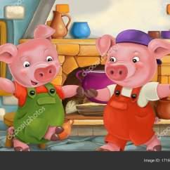 Pig Kitchen Storage Rack 卡通场景与两个可爱的猪在厨房彩色插画儿童 图库照片 C Agaes8080 171902562