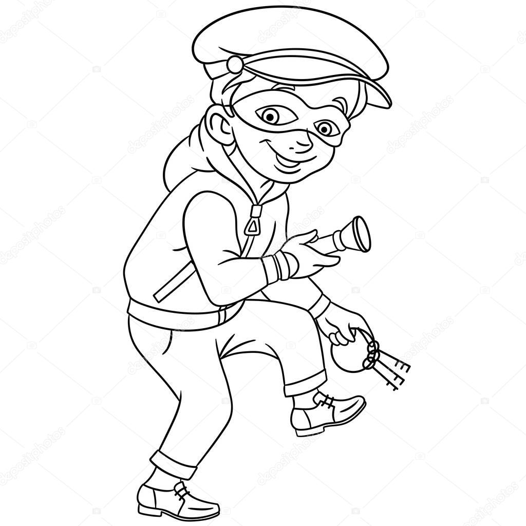 Coloring Page Cartoon Criminal Thief House Bank Keys