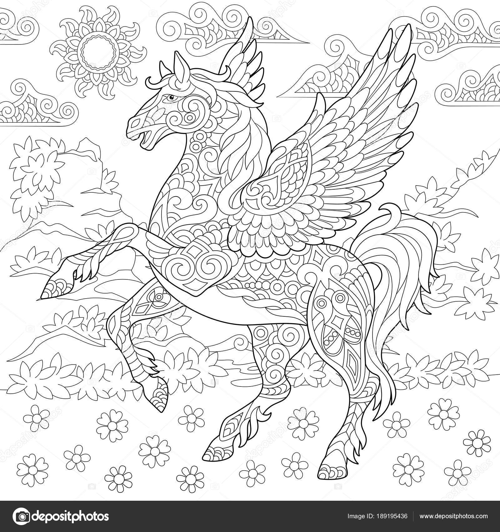 Pictures Pegasus Coloring Pages For Adults Zentangle Pegasus Horse Stock Vector C Sybirko 189195436